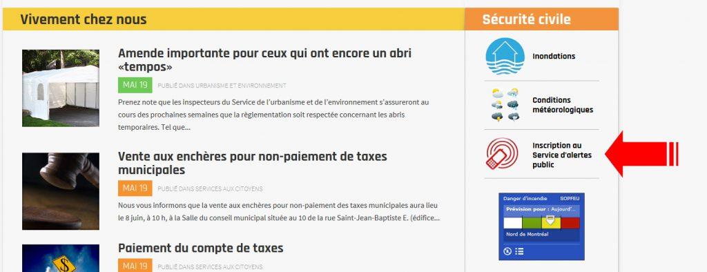 Page Accueil-Alertes public
