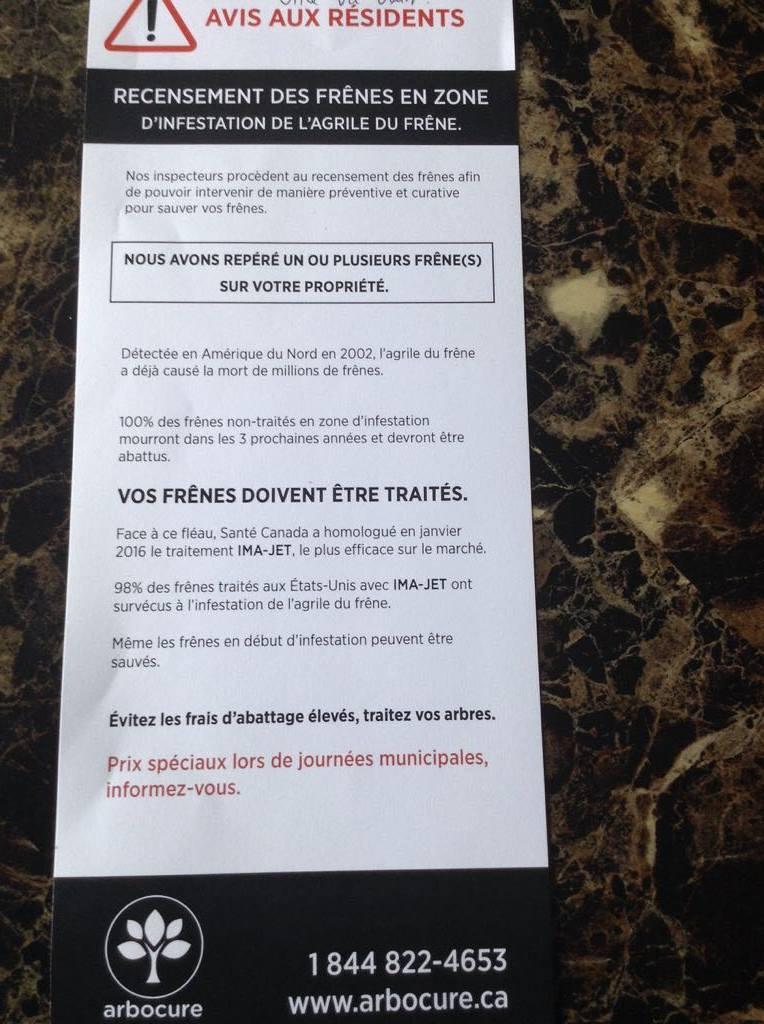 Photographie d'une sollicitation reçue par une citoyenne de Rigaud. ATTENTION, la Ville ne les a pas mandaté.