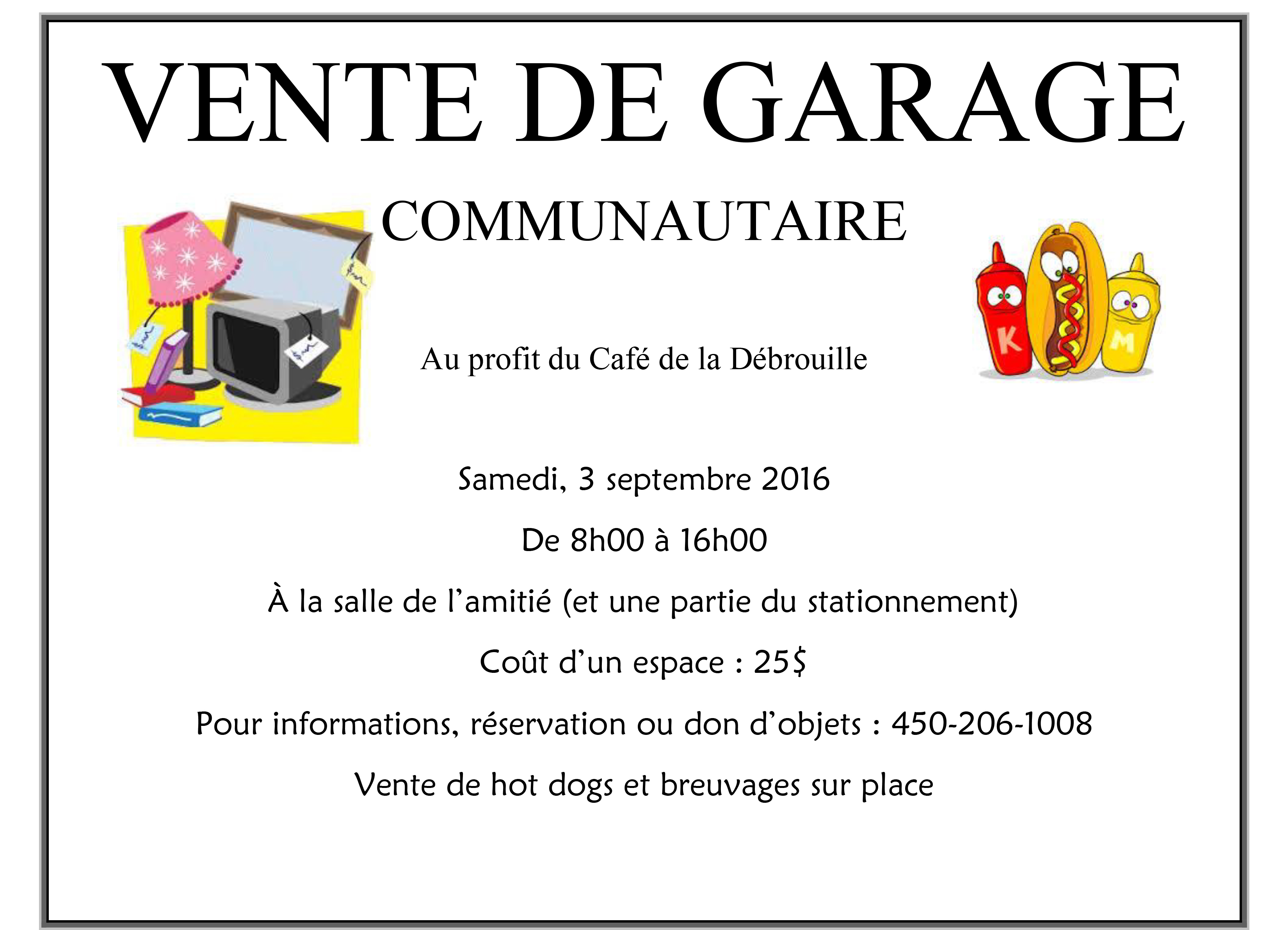 VENTE DE GARAGE COMMUNAUTAIRE - affiche 2016