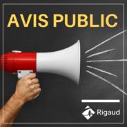 Avis public – Calendrier des séances ordinaires du conseil municipal – année 2021